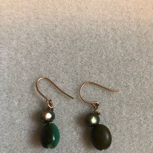 Brand new! Natural stone and pearl earrings